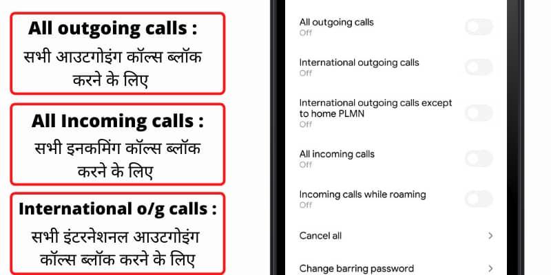 call barring expalin in hindi