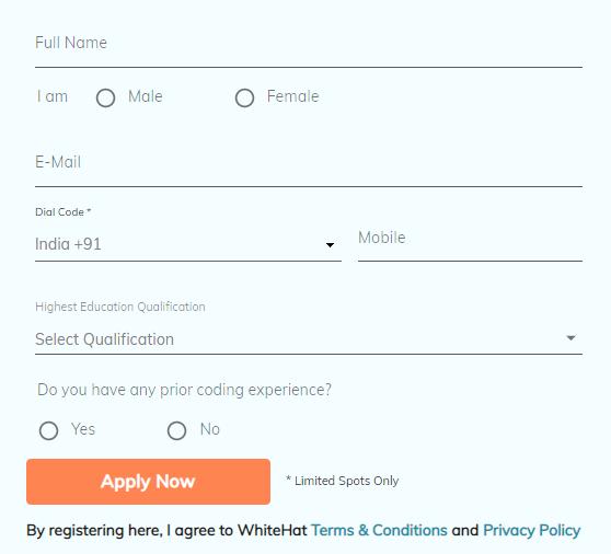 join whitehat jr registration form