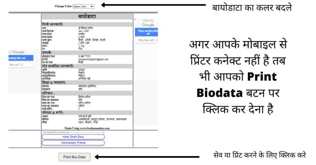 save or print biodata