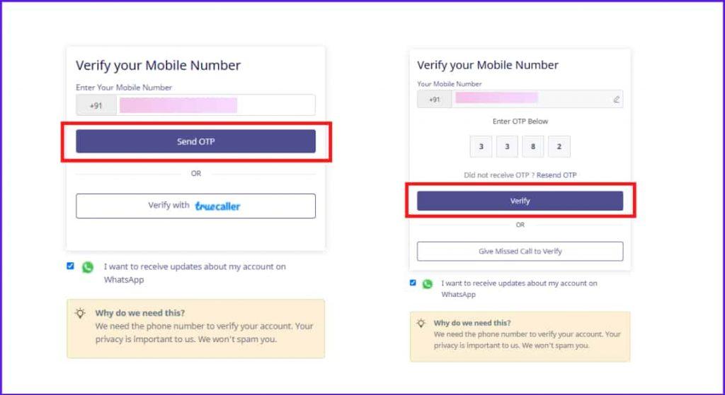 mobile number verify instamojo