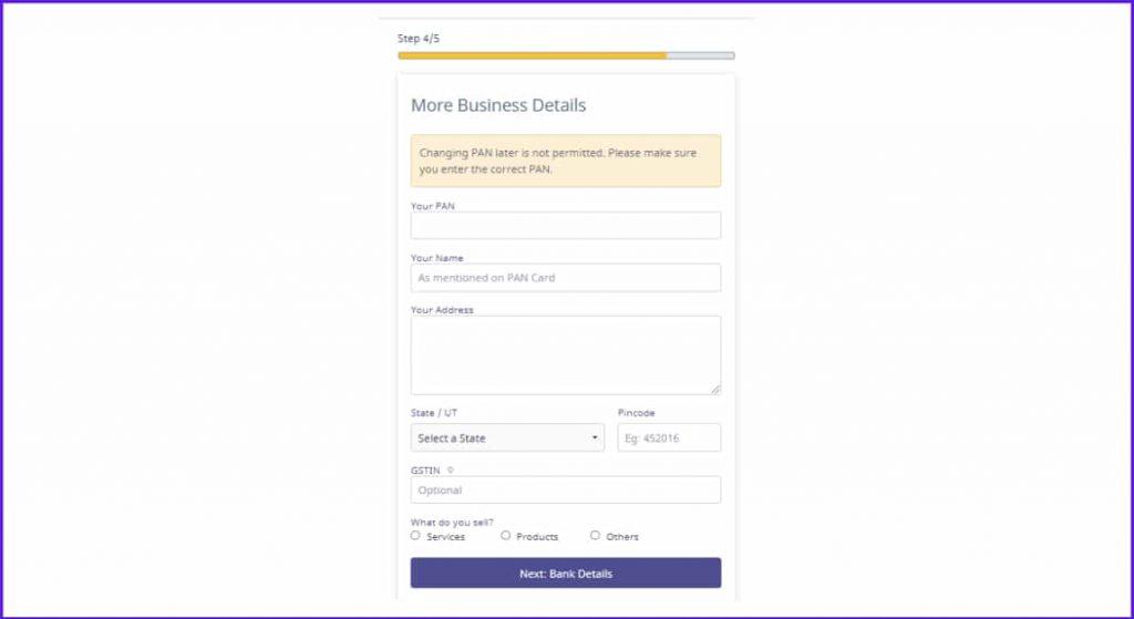 more business details instamojo