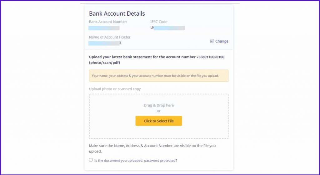 submit bank account details instamojo
