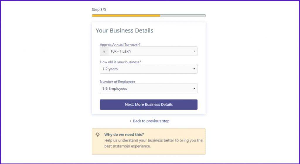 your business details instamojo
