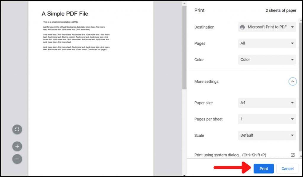 Click on Print - PDF