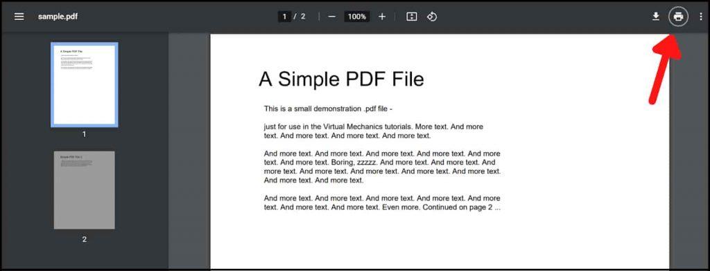 Click on Print PDF